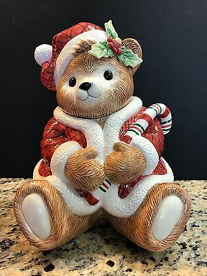 Fitz & Floyd Peppermint Teddy Christmas Cookie Jar Candy Cane New In Box Htf!