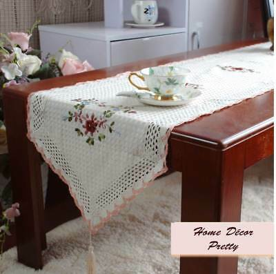 Pretty Hand Silk 3D Flower Embroidery Mix Color Crochet Braid Table Runner XL