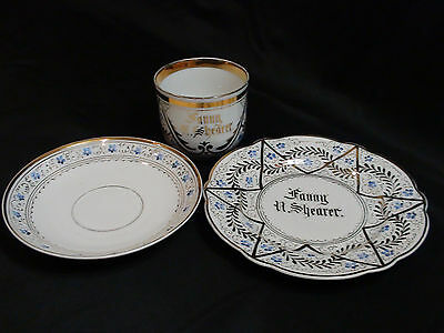 Late 19th Century Porcelain Presentation Breakfast Set With Large Gold Star