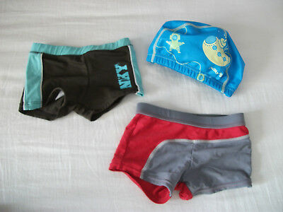 °°° lot 2 maillot de bain garçon 3 ans + bonnet piscine junior °°°