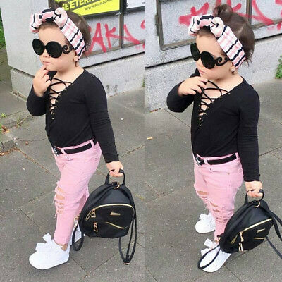 Toddler Kids Girls Bandage Tops Ripped Jeans Pants 2pcs Clothes Outfit Set 0-5T
