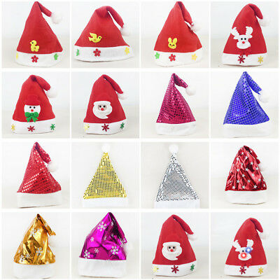 Xmas Christmas Party Cap Soft Plush Santa Claus Holiday Fancy Dress Hat Kid Gift