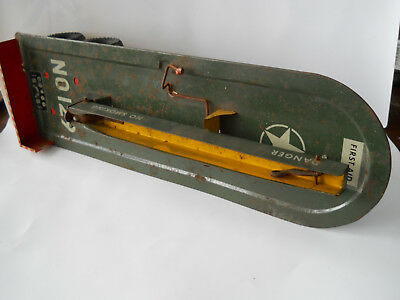 Vintage Tin Plate Aeroplane Launcher Trailer With Elavating Ramp