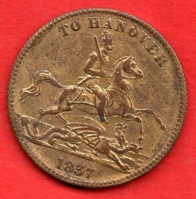1837 Brass 'to Hanover' Token With Duke Of Cumberland On Horse. Queen Victoria