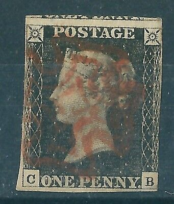 1840 1d BLACK USED RED MX LETTERS C-B