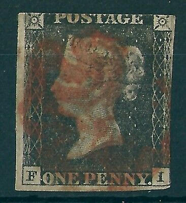 1840 1d BLACK USED RED MX LETTERS F-I