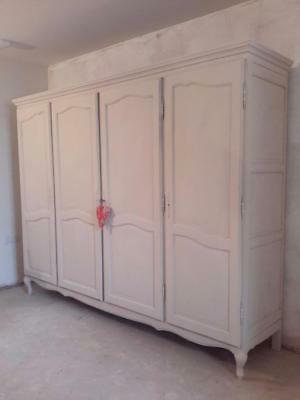 Large Painted Four Door French Vintage  Wardrobe