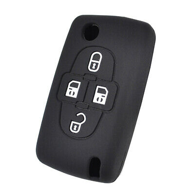 4 Button Silicone Flip Key Cover Case For Peugeot 1008 807 Fob Shell