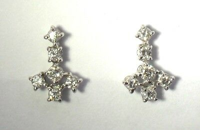 18ct Gold Approximately 0.40 Points TCW Diamond Stud Earrings White Gold