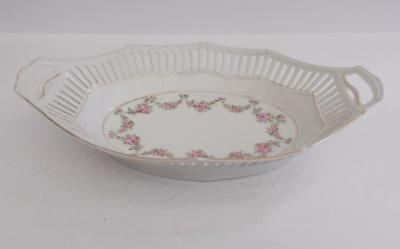 Antique French/German Cut Work Pink Rose Bud Twin Handle Dish.