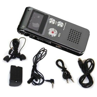 8GB Gray Rechargeable Digital Voice Sound Recorder Dictaphone MP3 Player Record