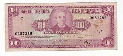 Nicaragua: Banknote - 100 Cordobas 1968 P120 Very Scarce (A712)