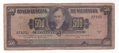 Nicaragua: Banknote - 500 Cordobas 1962 P113 Extremely Scarce (A713)