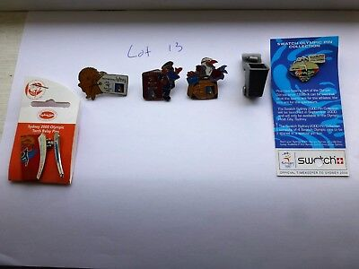 Lot 13 / 6 Sydney 2000 Olympic Games Pins Ansett Swatch Visy Recycling Bin