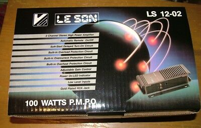 Le Son 2 Channel 100 Watts Car Stereo Amplifier, Ls 12-02, Brand New