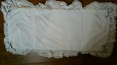 Vintage silver cross double pram blanket white with navy bows padded with lace