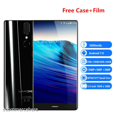 UMIDIGI Crystal 4G Smartphone 5.5'' Android 7 1.5GHz 16GB/64GB Touch ID Unlocked