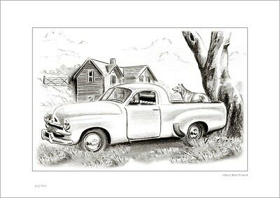 FJ Ute  &   Cattle Dog    Australian    Pencil  Drawing   Limited Edition Print