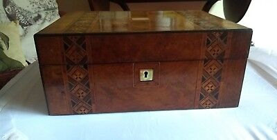 Superb Antique Victorian Burr Walnut And Marquetry Sewing Box