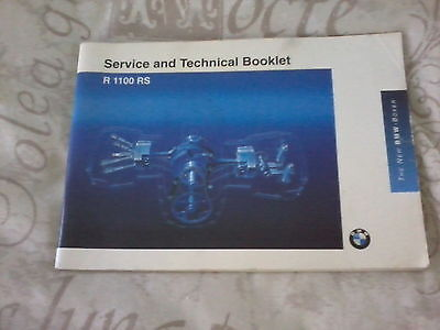BMW R1100RS 1992 service and technical booklet