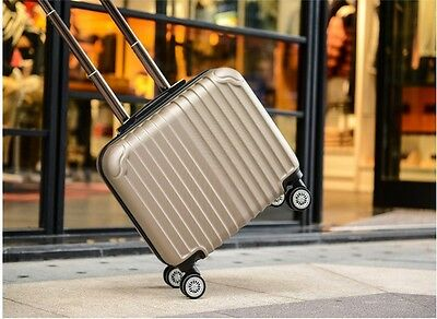 "18"" Champagne Universal Wheel Business Travel Boarding Suitcase Luggage Trolley"