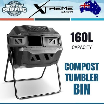 Compost Tumbler Bin 160L Dual Twin Food Waste Aerated Steel Composter Garden Bed