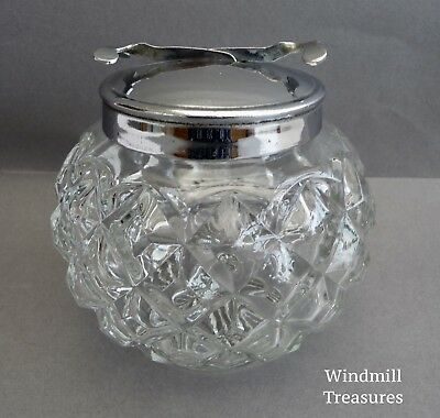 Vintage Glass Sugar Bowl With Pascal Integral Tongs With Chrome Lid