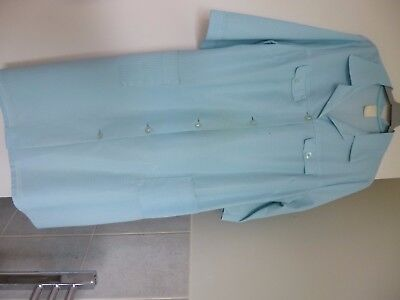 VINTAGE Turquoise Check ¾-length Sleeved Overalls/Pinafore Size OS