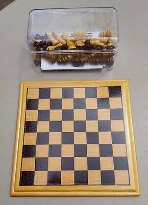 Small Wood Chess Set with board and 4cm King