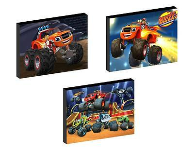 3 x BLAZE AND THE MONSTER MACHINES  CANVAS ART BLOCKS/ WALL ART PLAQUES/PICTURES