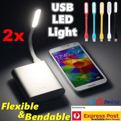 2 x USB LED Light Bendable Flexible Lamp for Computer Laptop Camping Reading Car