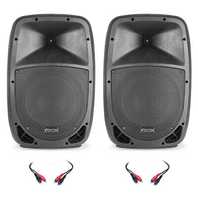 Pair of FTB 10 Inch Active DJ PA Disco Speakers 400 Watt Power with Cables