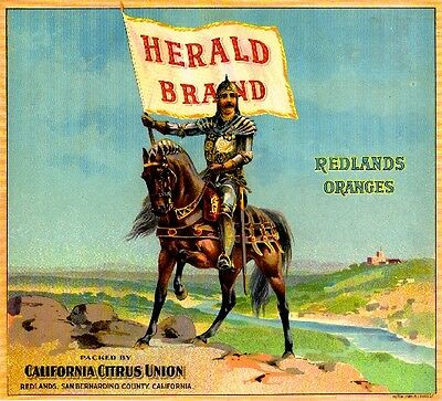 Redlands Herald Brand Oranges Orange Citrus Fruit Crate Label Art Print