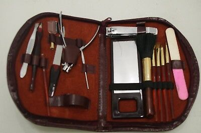 Vintage Manicure & Makeup Brush Mirror Set With Original Leather Zip Up Case