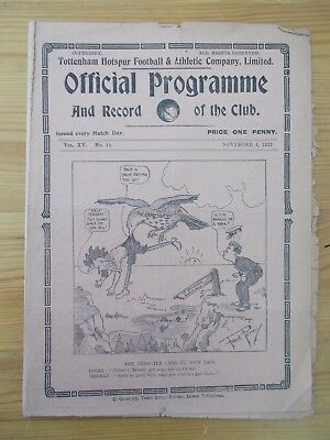 Tottenham v Liverpool programme dated 4-11-1922        (T487)