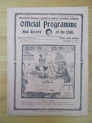 Tottenham v Bury programme dated 25-12-1924        (T488)