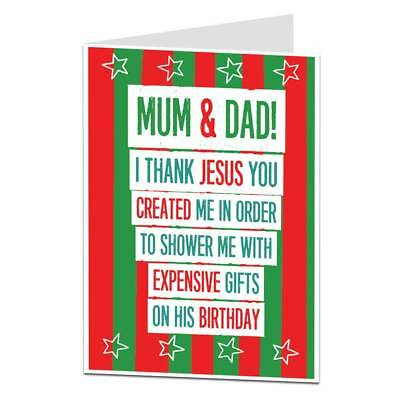 Christmas Card For Mum & Dad Funny Quirky Silly Unusual Luxury Jesus Xmas Theme