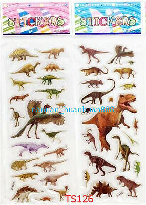 2 sheets Dinosaur PVC Animal Sticker Lot Handwork Kid Favor Party Craft Toy Gift