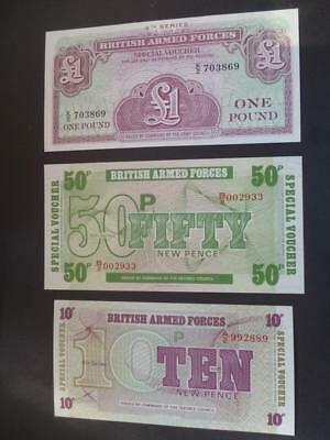 British Military Armed Forces Uncirculated Banknotes/ Vouchers.£1, 50P & 10P