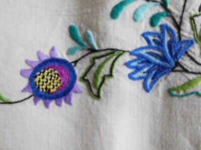 Beautiful Vintage Linen Embroidered Tablecloth