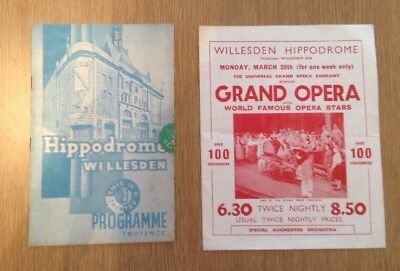 1930's Willesden Hippodrome Theatre Programme And Flyer