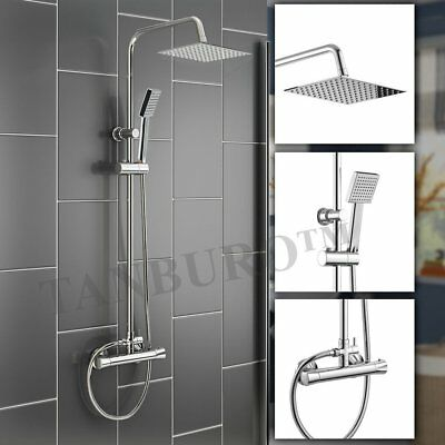 Bathroom Mixer Shower Twin Head Square Chrome Thermostatic Hot Cold Bathing Set