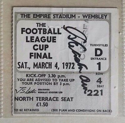 1972 LEAGUE CUP FINAL MATCH TICKET WEMBLEY STADIUM  STOKE vs. CHELSEA - SIGNED