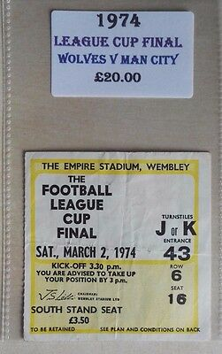 1974 LEAGUE CUP FINAL MATCH TICKET WEMBLEY STADIUM  WOLVES vs. MAN CITY - NO. 43