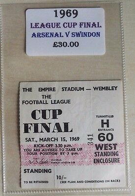 1969 LEAGUE CUP FINAL MATCH TICKET WEMBLEY STADIUM   ARSENAL vs. SWINDON TOWN
