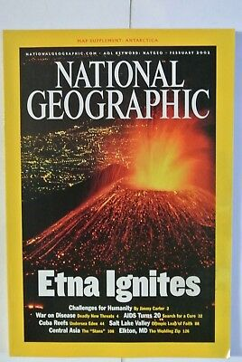 National Geographic Magazine. February, 2002.  Etna Ignites. Challenges Humanity
