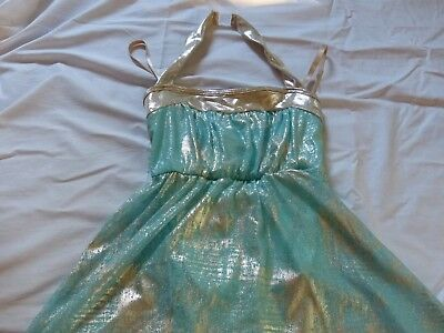 Turquoise and gold Dance Costume Ice Skating Dress Ballet Adult Small