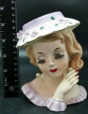 BEAUTIFUL Vintage Ceramic Lady Head Vase made by Napco #2