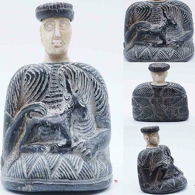 Rare Ancient Bacteria Majestic Emperor Excellent Carved Stone Idol Statue #SH219