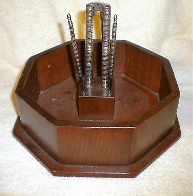 Wood nut bowl/nutcracker and (4) picks